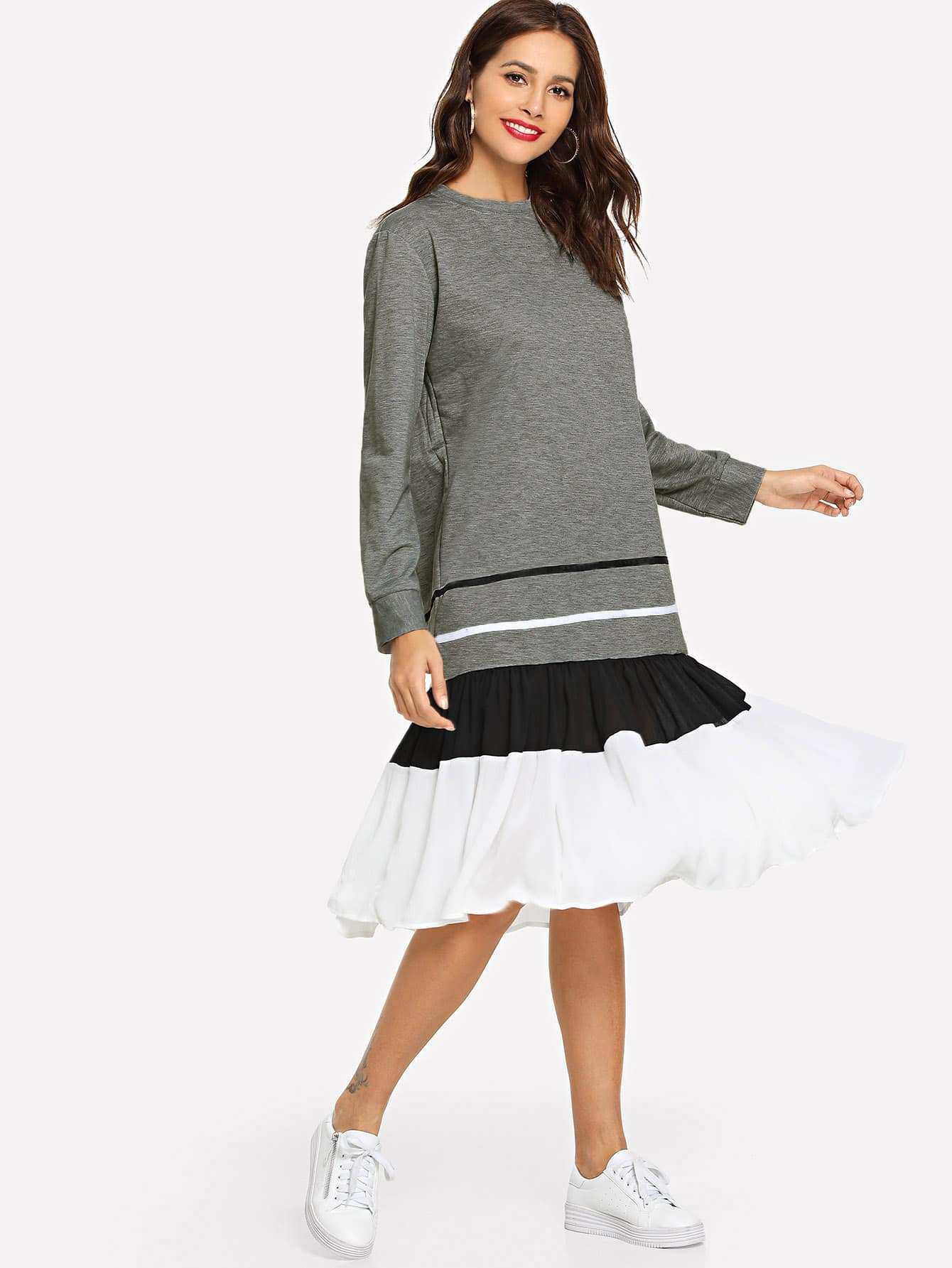 Купить Полосатое контрастное асимметричное платье, Giulia, SheIn