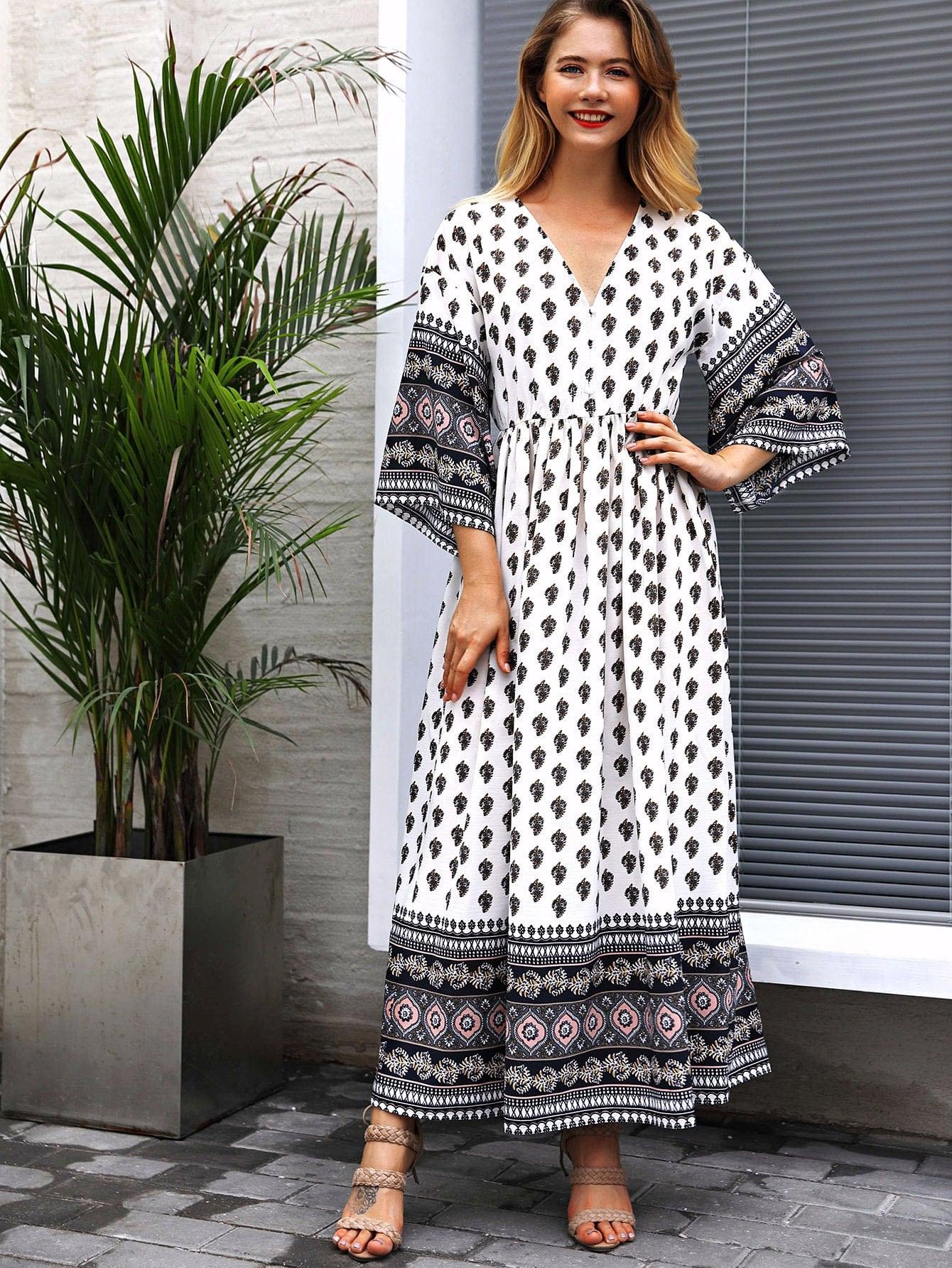 57d8634a5 Tribal Print Half Placket Maxi Dress   SHEIN UK