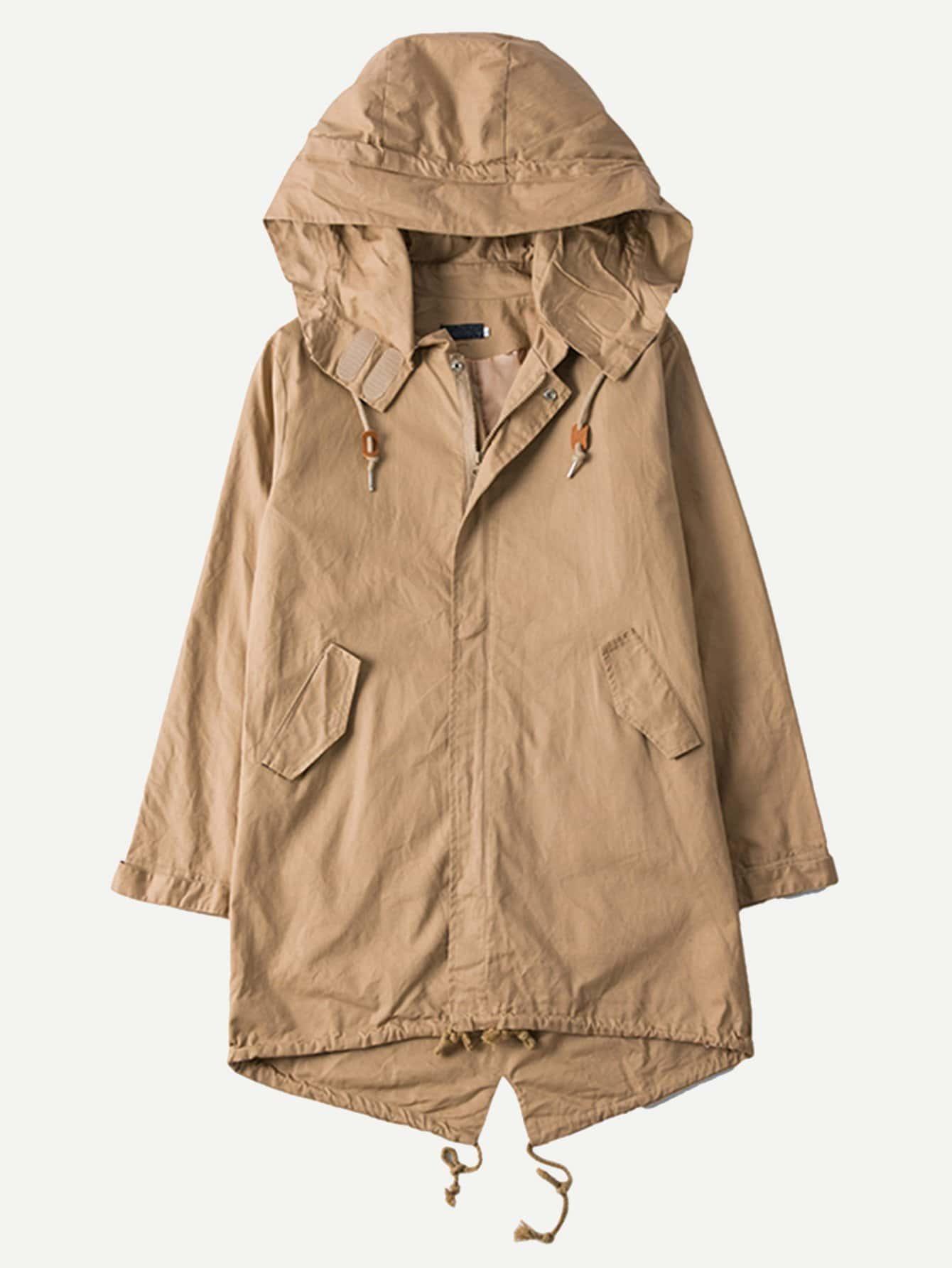 Купить Мужское простое пальто с капюшоном и кулиской, null, SheIn