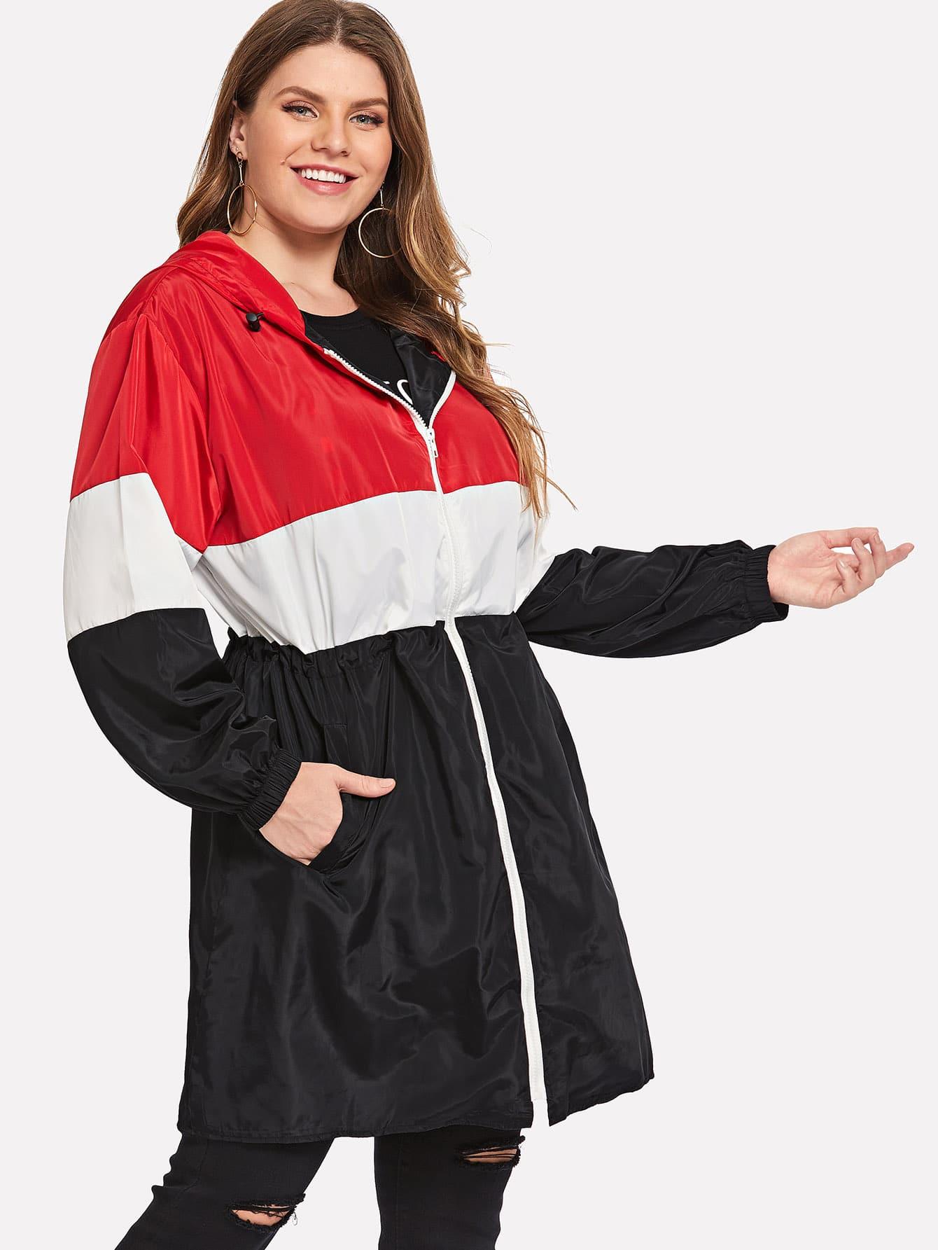 Купить Большое контрастное пальто с застёжкой молния, Isabela, SheIn