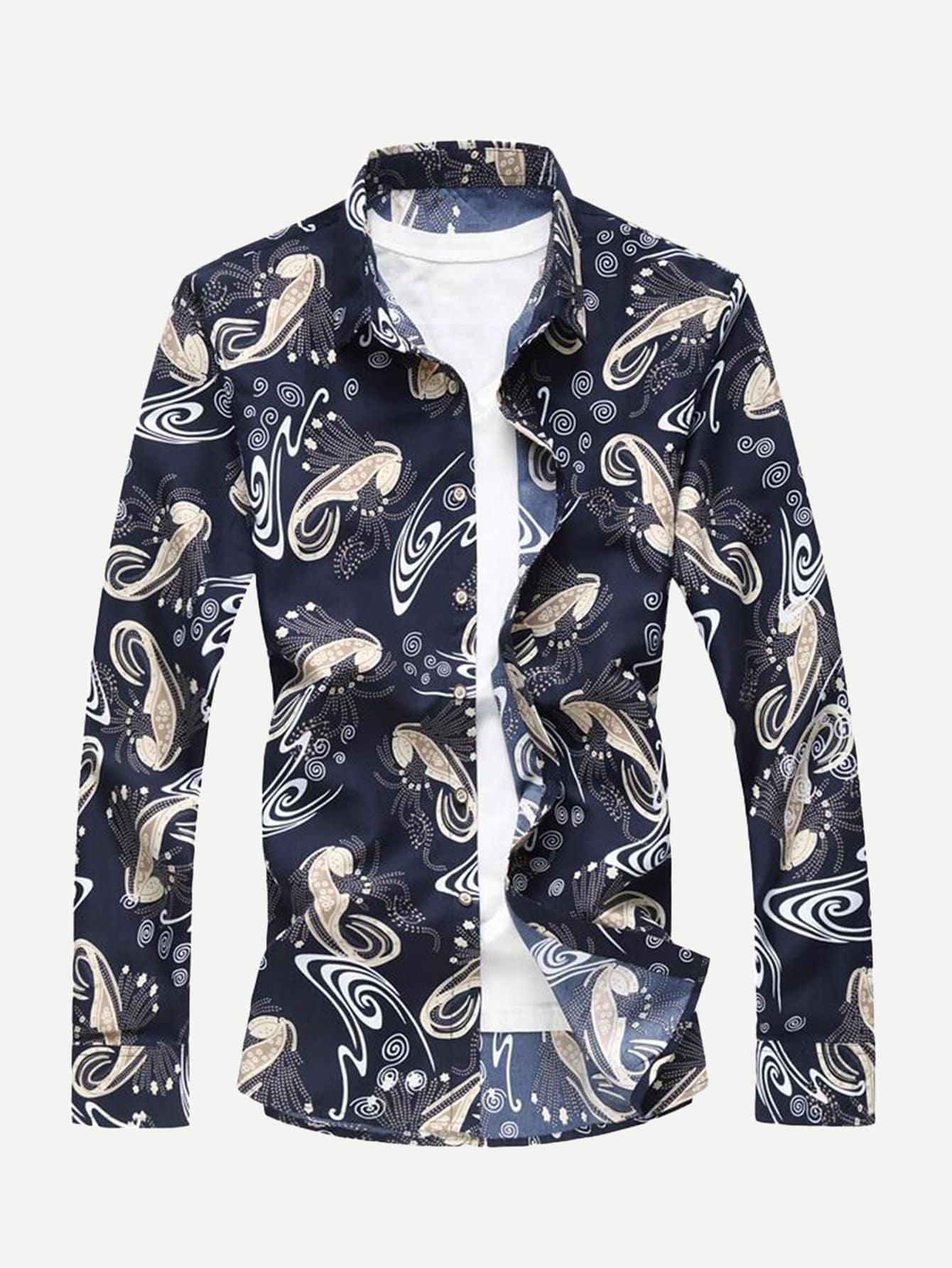 Купить Мужская футболка с принтом абсрактным и с жилетом, null, SheIn