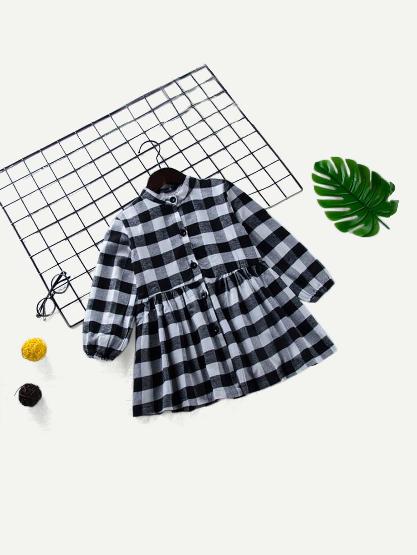Купить Платье в контрастной клетку с украшением пуговицы для девочек, null, SheIn