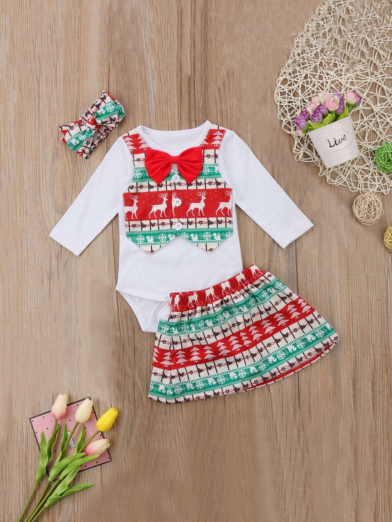 Купить Комбинезон с принтом рождества и юбка и бандана для девочек, null, SheIn