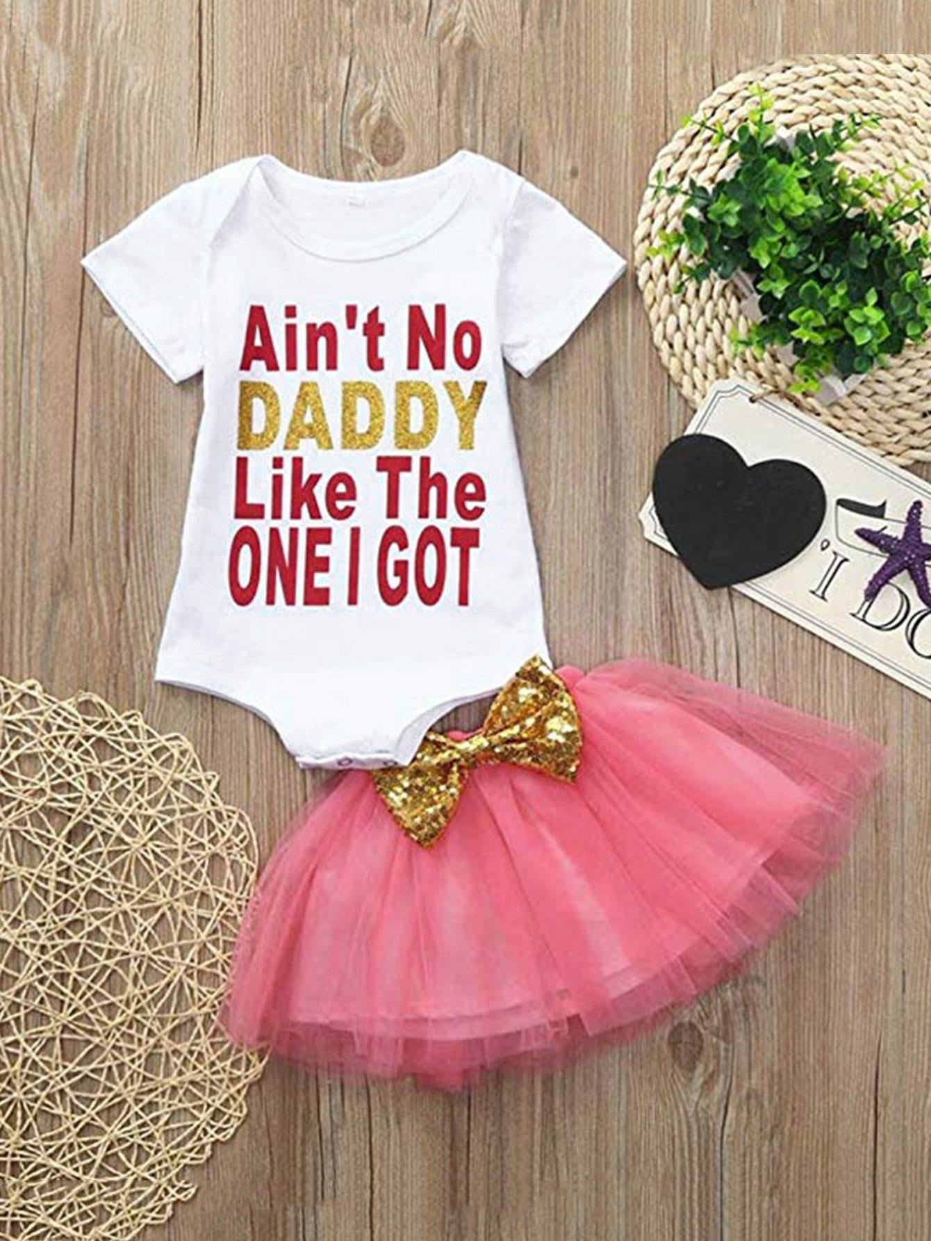 Купить Комбинезон с принтом букв и сетчатая юбка для девочек, null, SheIn