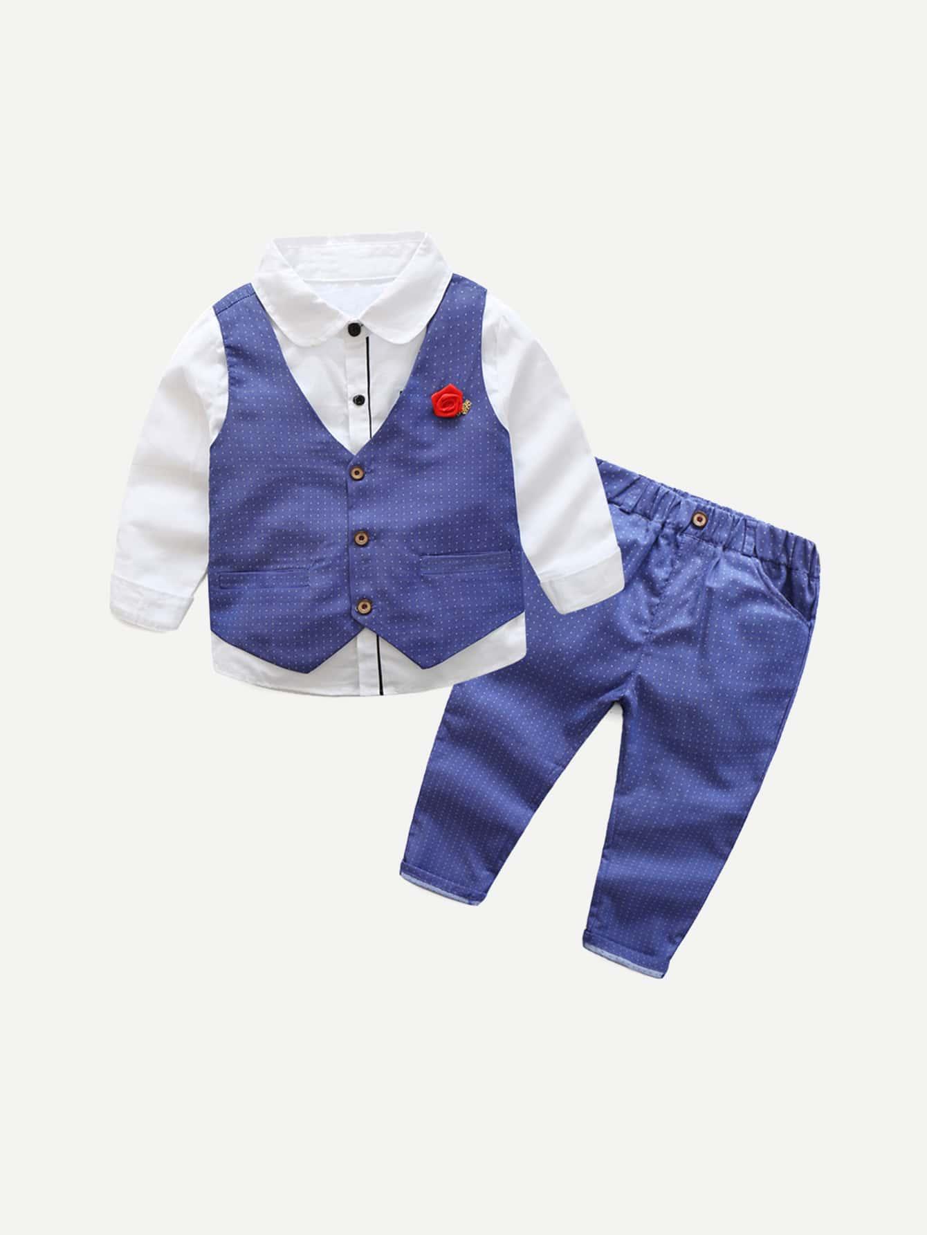 Футболка с длинными рукавами и брюки рисунками точки польки жилет для мальчика