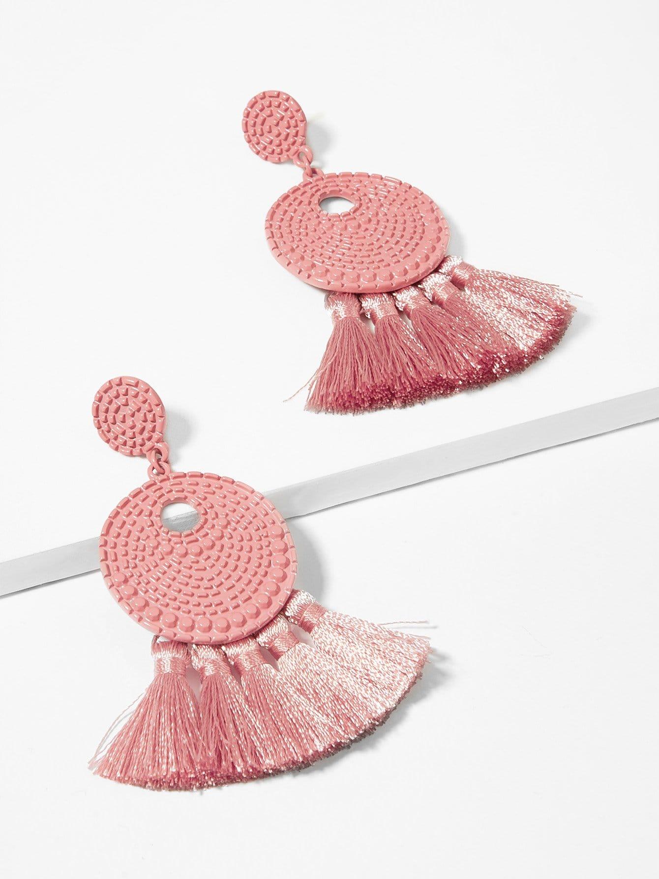 Текстурированные круглые серьги с подвеской бахром