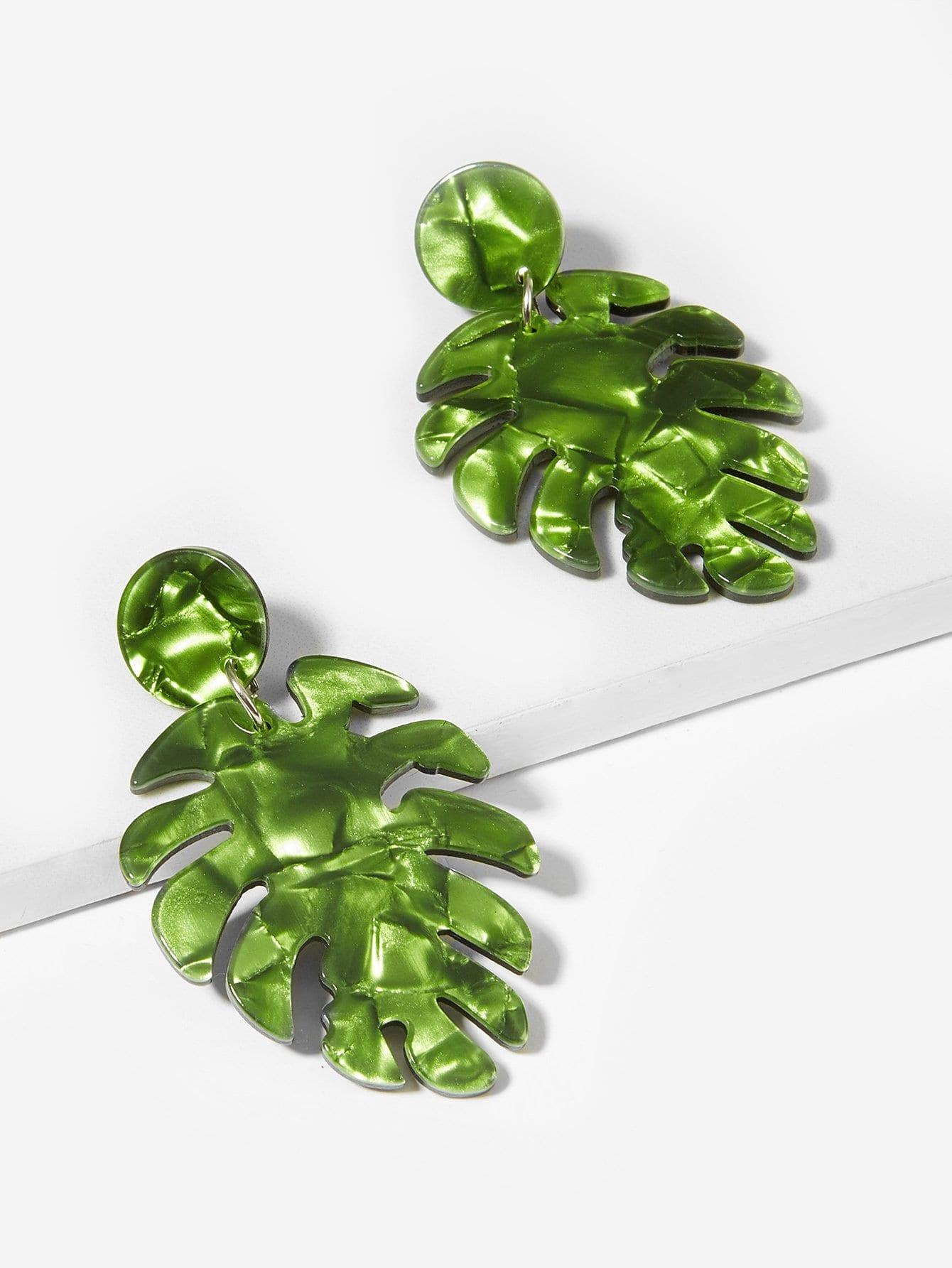 Купить Серьги в форме тропических листьев, null, SheIn