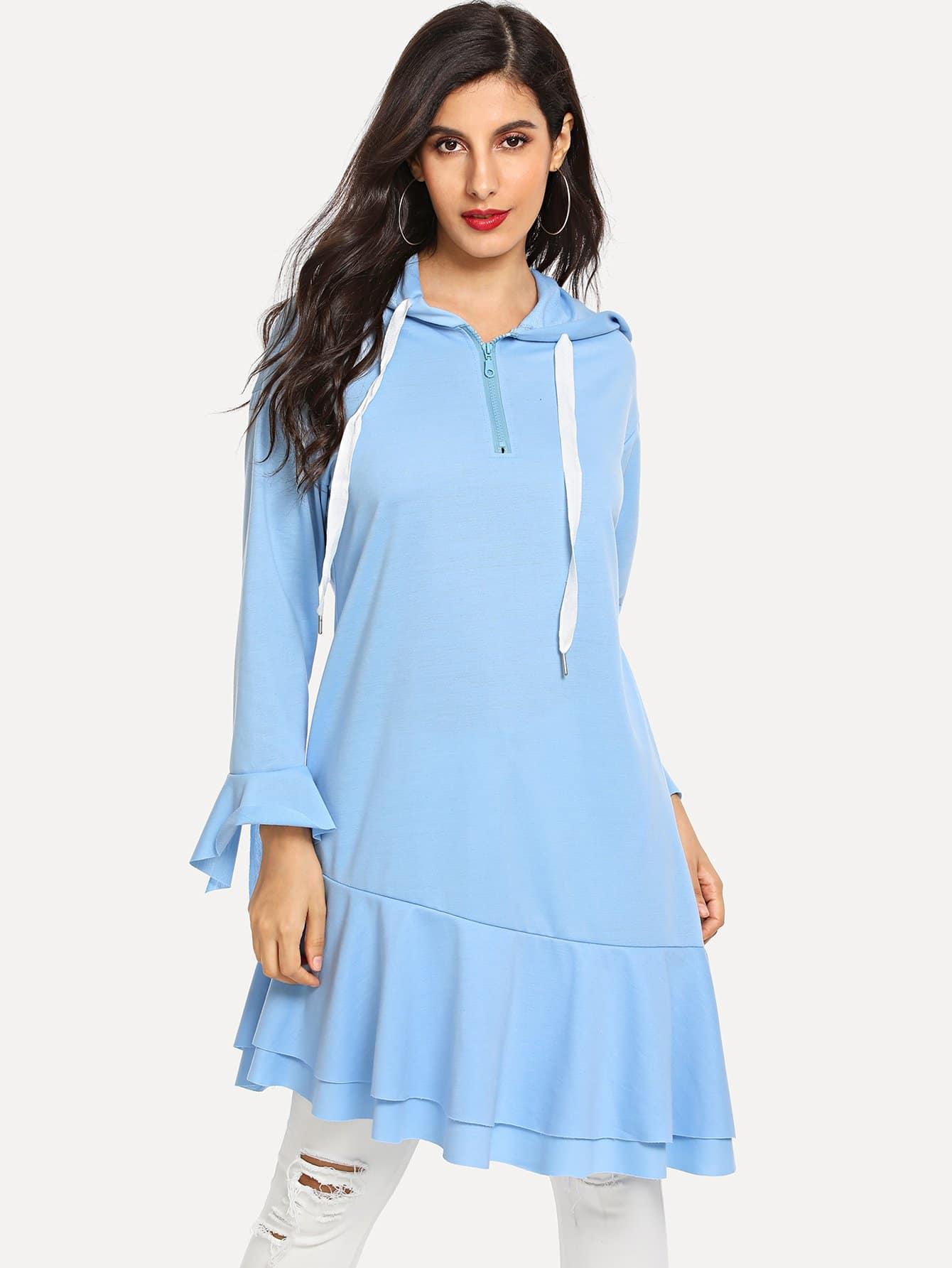 Купить Асимметричное платье-свитшот половины разреза, Jeane, SheIn