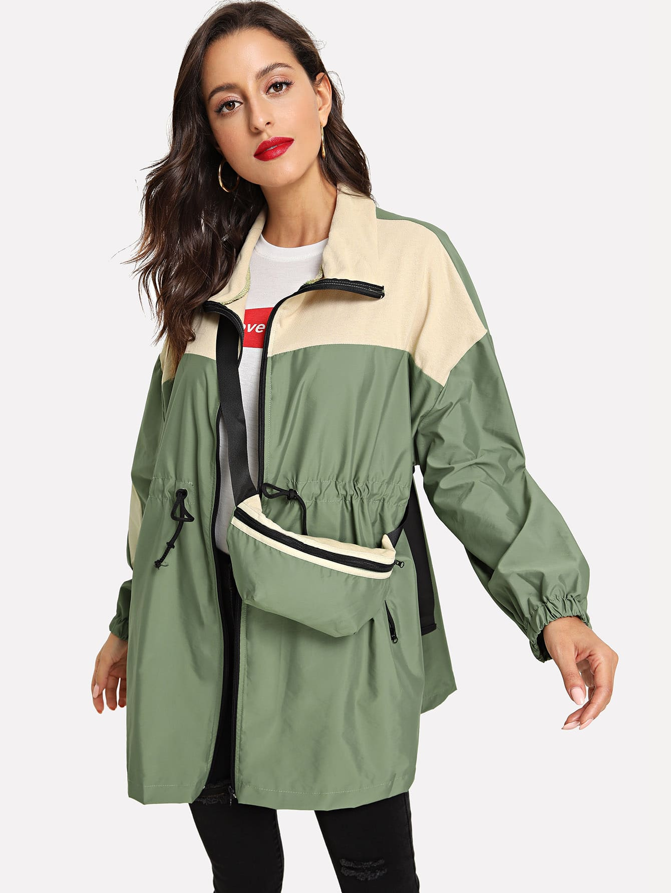 Купить Двухцветное пальто с кулиской и сумкой, Mary P., SheIn