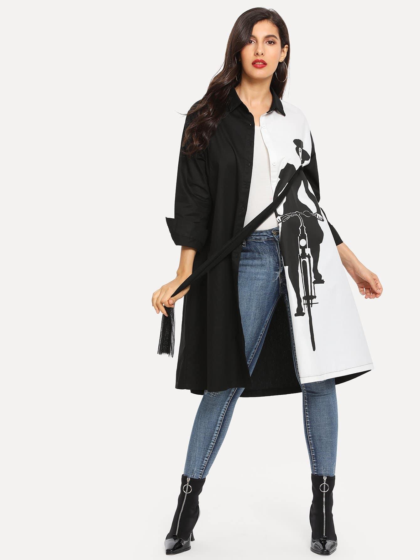 Двухцветное пальто с принтом фигуры, Jeane, SheIn  - купить со скидкой