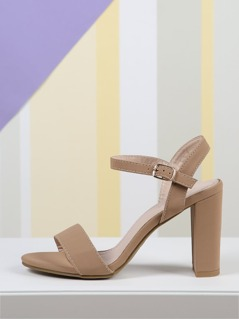 Faux Leather Chunky Heel Ankle Strap Sandals