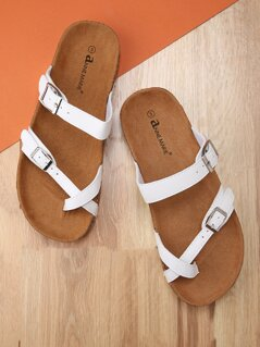 Toddlers Faux Leather Strappy Double Buckle Slide Sandals