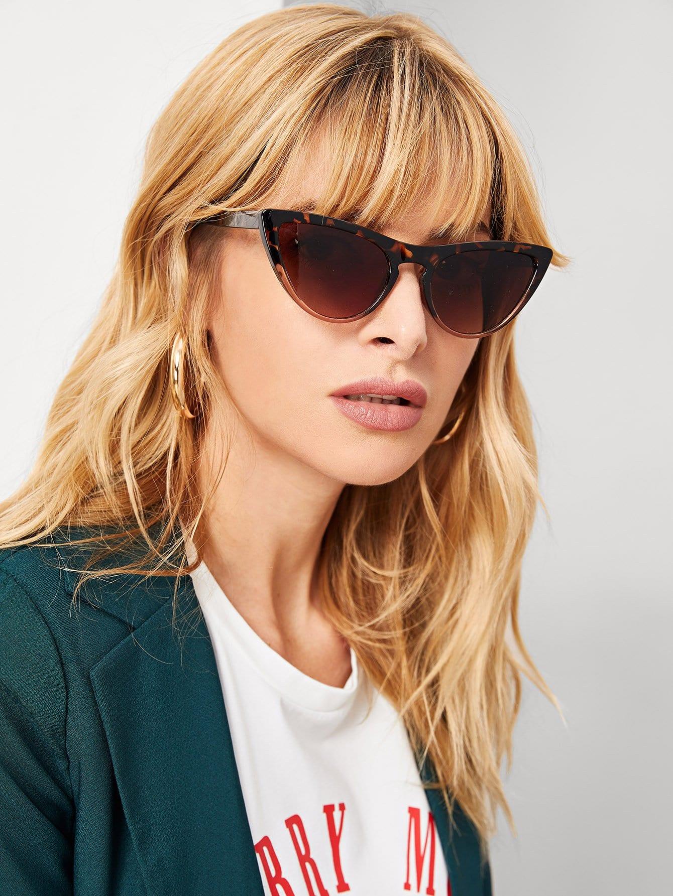 Купить Солнцезащитные очки с леопардовыми оправами и в форме глаза кота, null, SheIn