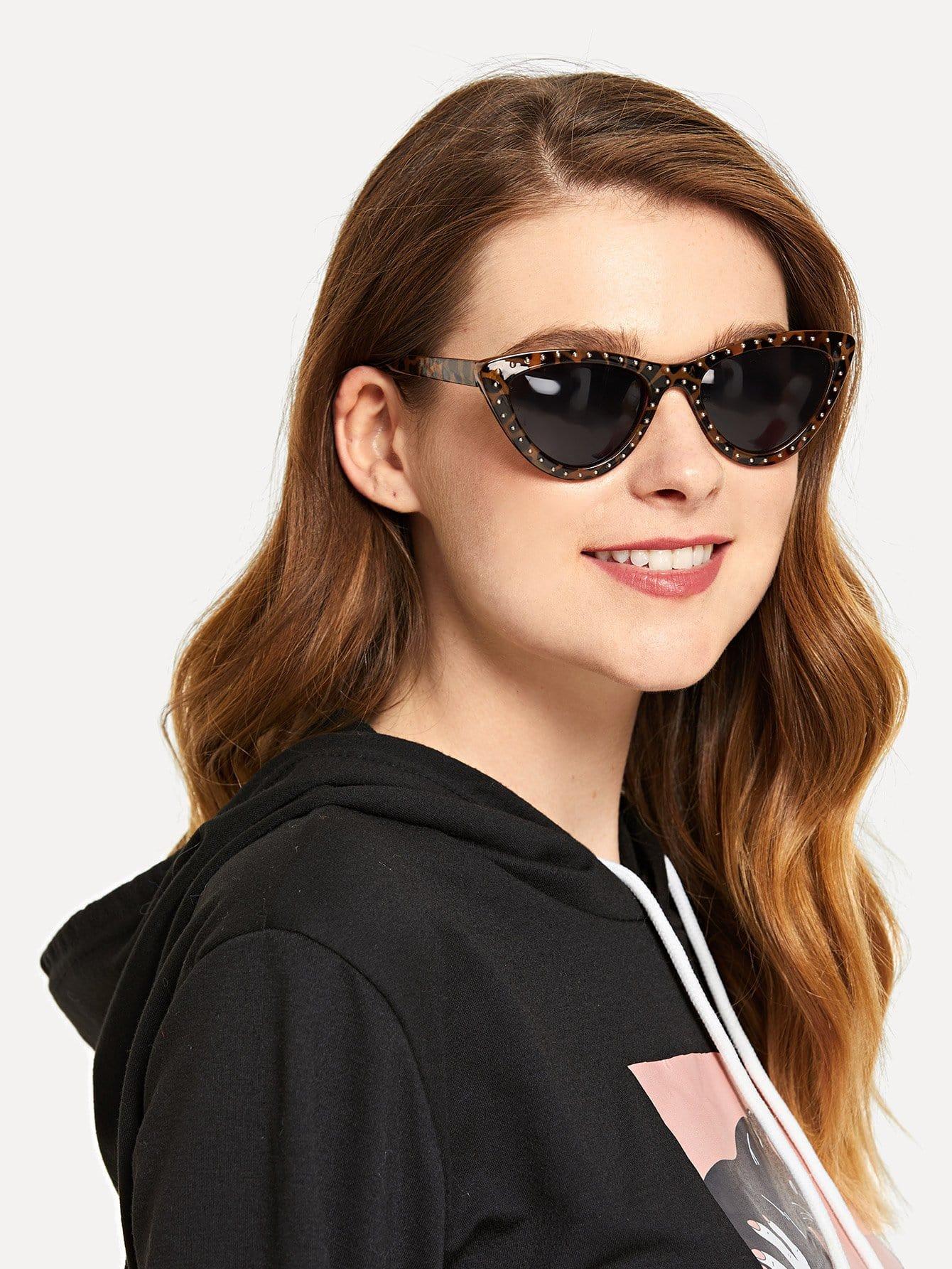 Купить Солнцезащитные очки в форме глаза кота и с улеопардовымми оправами, null, SheIn