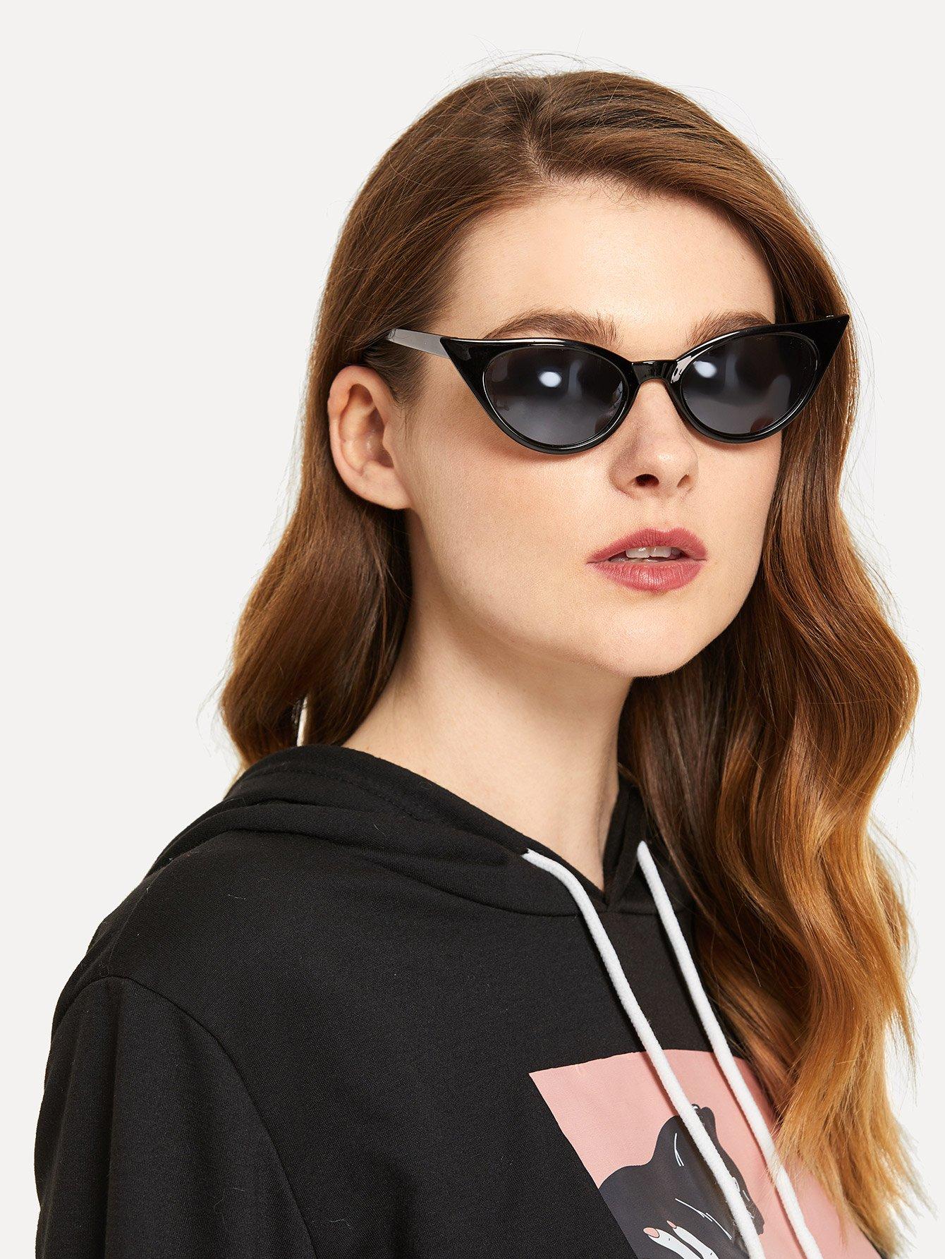 Купить Солнцезащитные очки с плоскими линзами и в форме глаза кота, null, SheIn