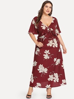 Plus Ruffle Knot Up V-Neck Floral Dress