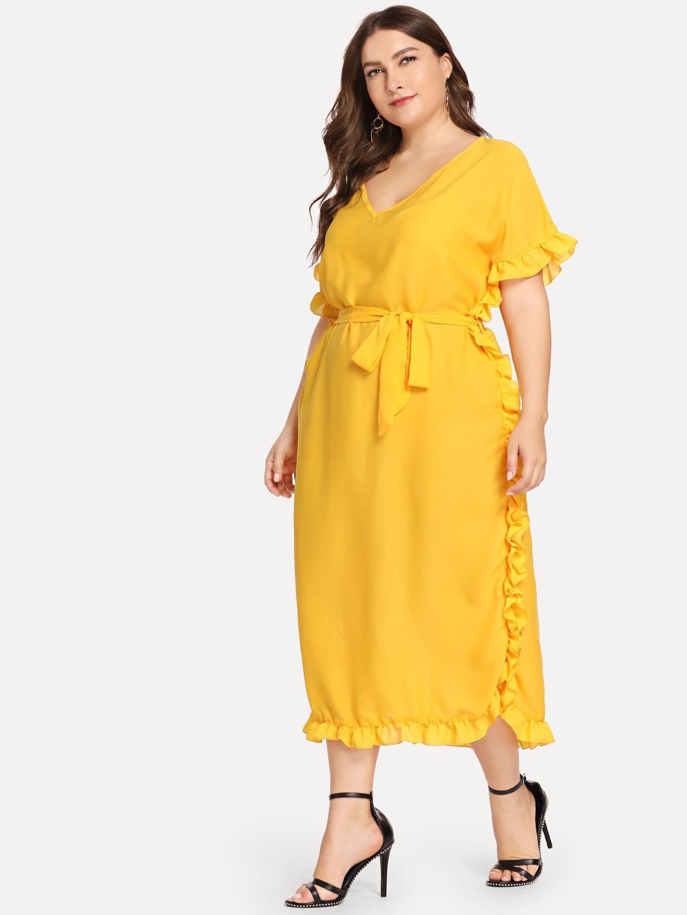 Купить Плюс размеры твердое платье с оборкой отделкой и с поясом, Franziska, SheIn