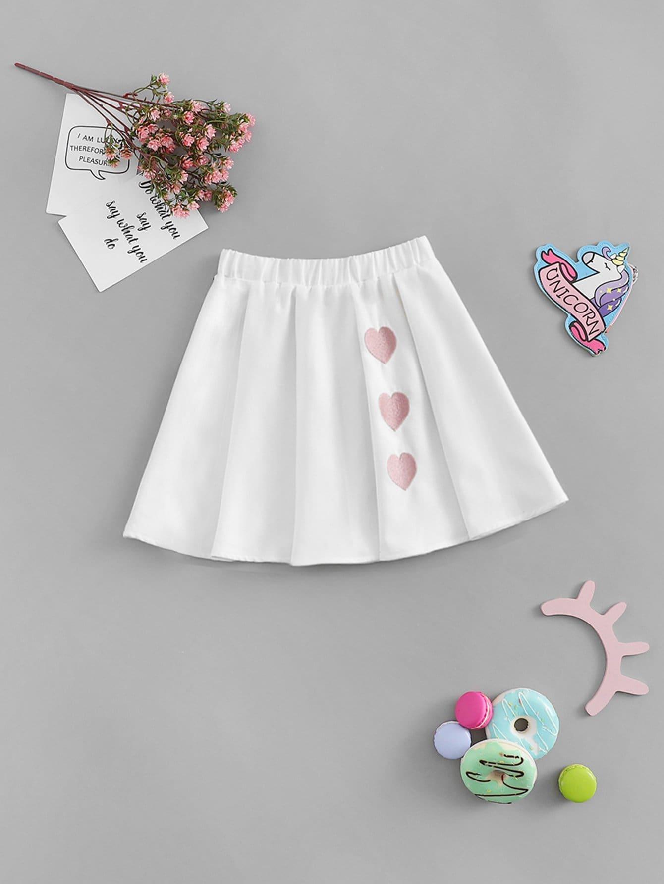 Купить Юбка с рисунками трёх сердца для девочки, null, SheIn