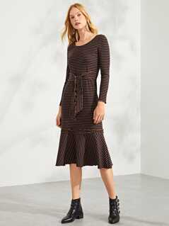 Lettuce Trim Striped Dress