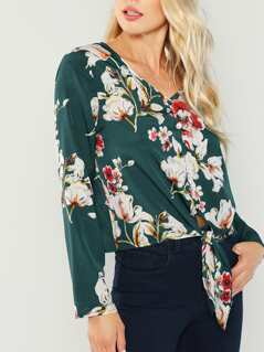 Knot Front Floral Print Shirt