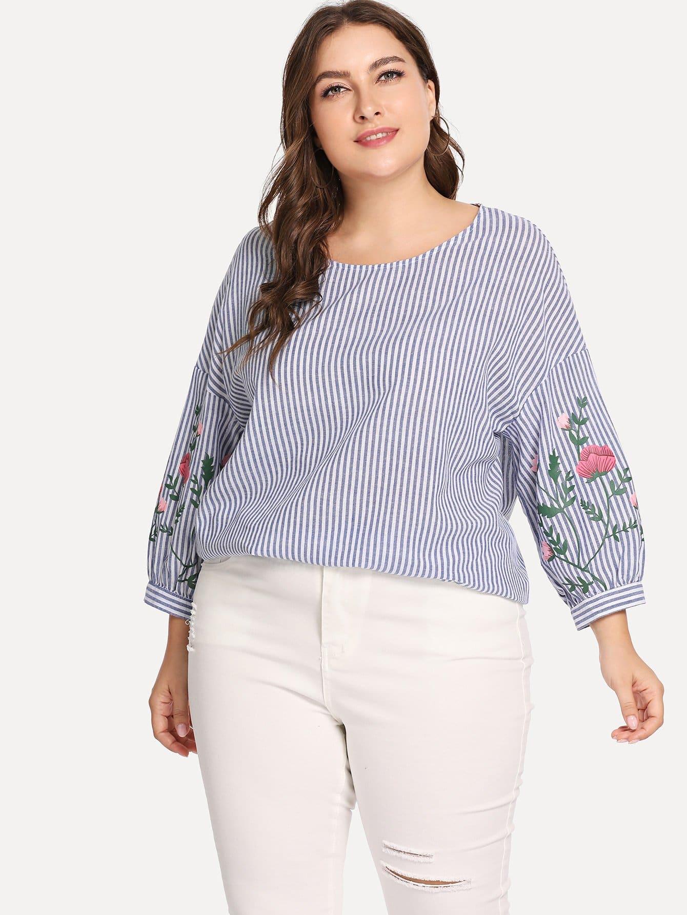 Купить Большая тонкая-полосатая блузка с ситцевыми рукавами и с заниженной линией плеч, Franziska, SheIn