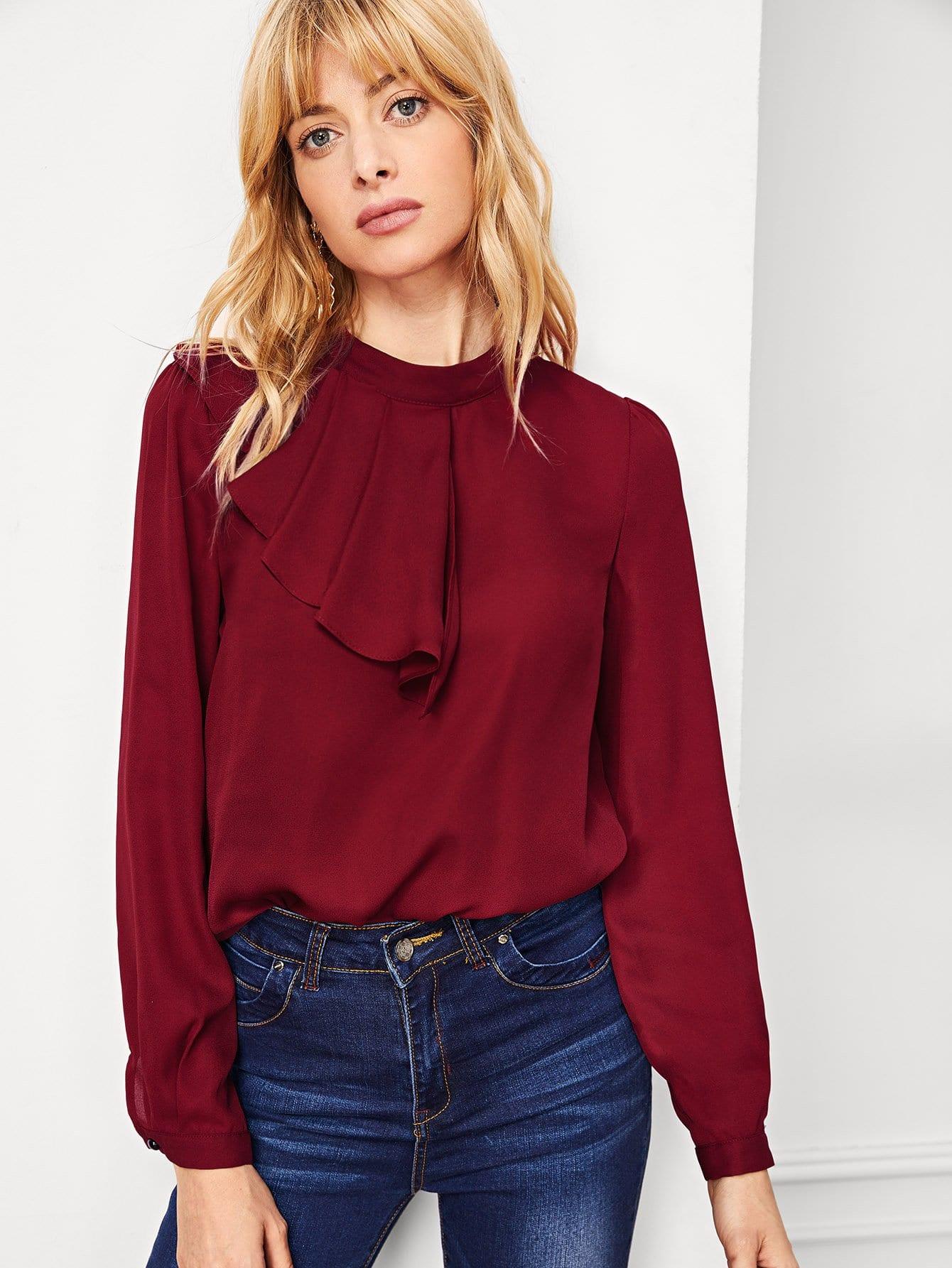 Блузка с ложным воротником с рюшами, Masha, SheIn  - купить со скидкой