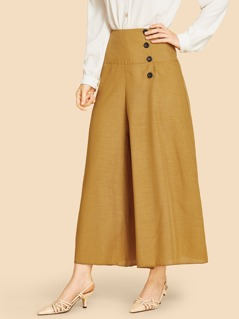 Button Front Wide Leg Pants