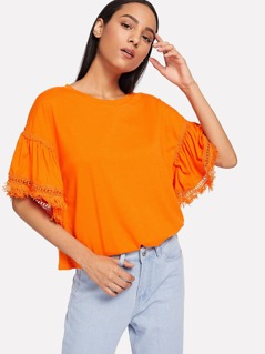 Neon Orange Fringe Detail Bell Sleeve Solid Tee