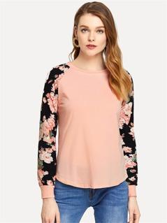 Floral Raglan Sleeve T-shirt