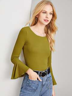 Lettuce Edge Bell Cuff Ribbed T-shirt