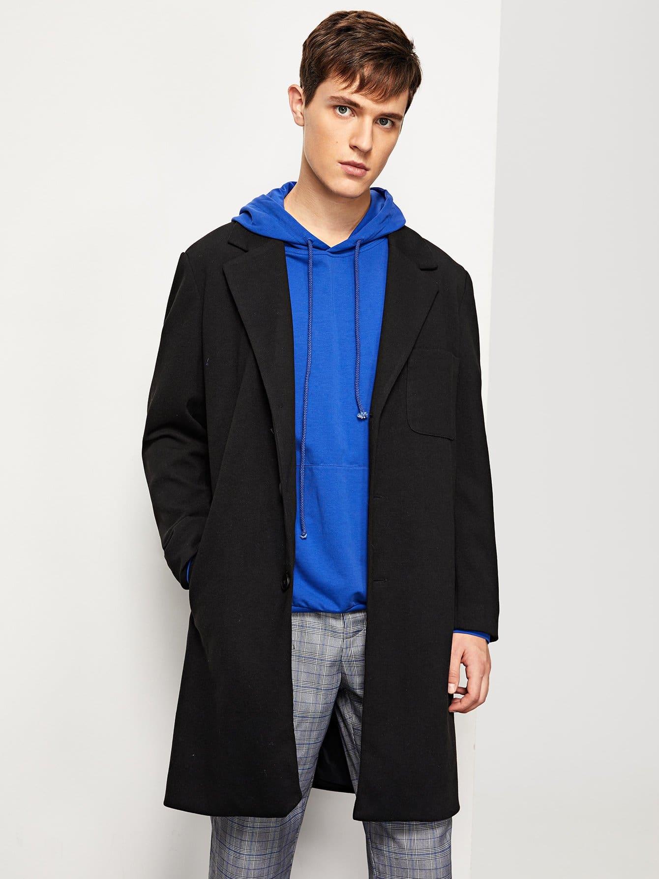 Купить Пальто с воротником Notched и с украшением пуговицы и карамна для мужчины, Vitaly, SheIn