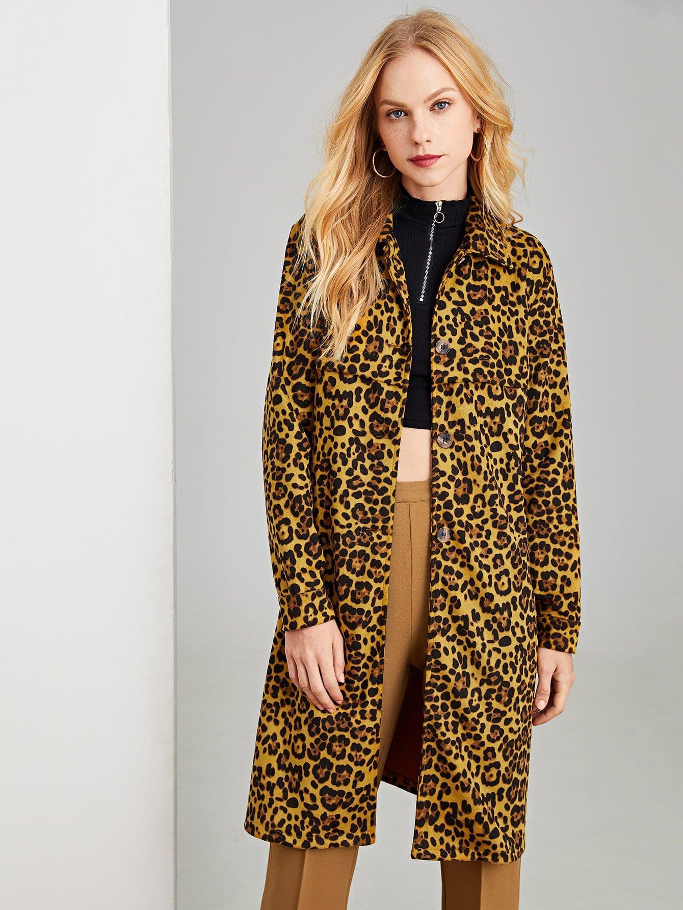 Купить Леопардовое пальто с украшением пуговицы, Denisa, SheIn