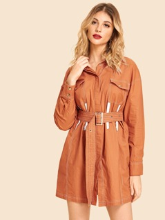 Button Up Pocket Patched Zip Detail Dress