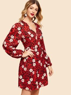 Floral Print V Neck Flare Dress