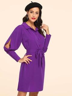 Self Belted Button Cuff Collar Dress
