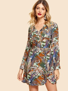 Tropical Print Tunic Dress