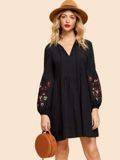 Embroidered Lantern Sleeve Smock Dress