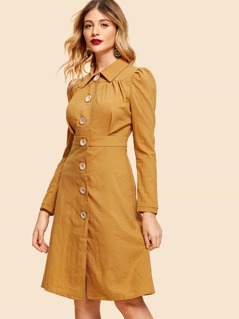 Single Breasted Collar Shirt Dress