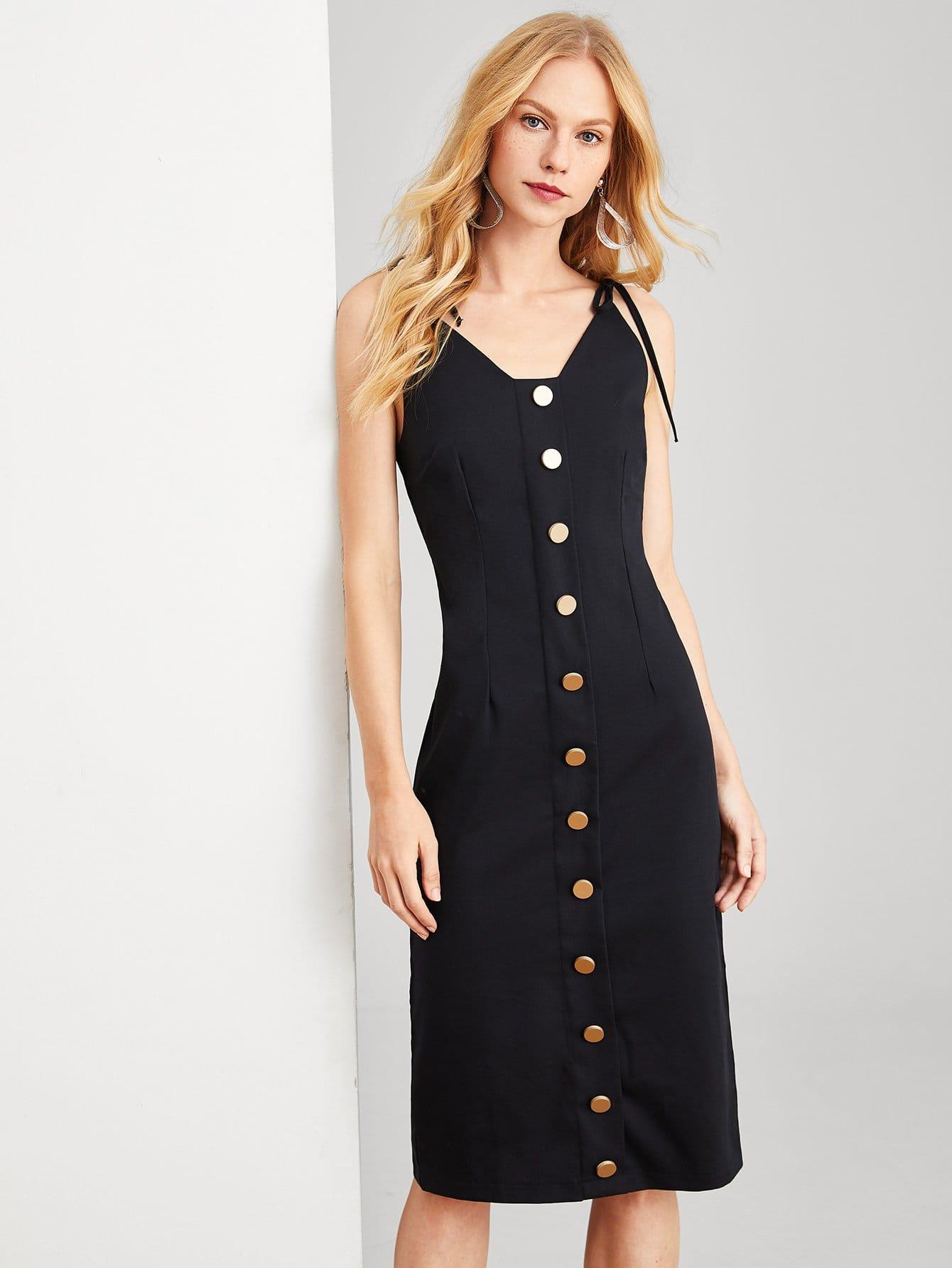 Купить Облегающое платье с вырезом и с украшением пуговицы, Denisa, SheIn