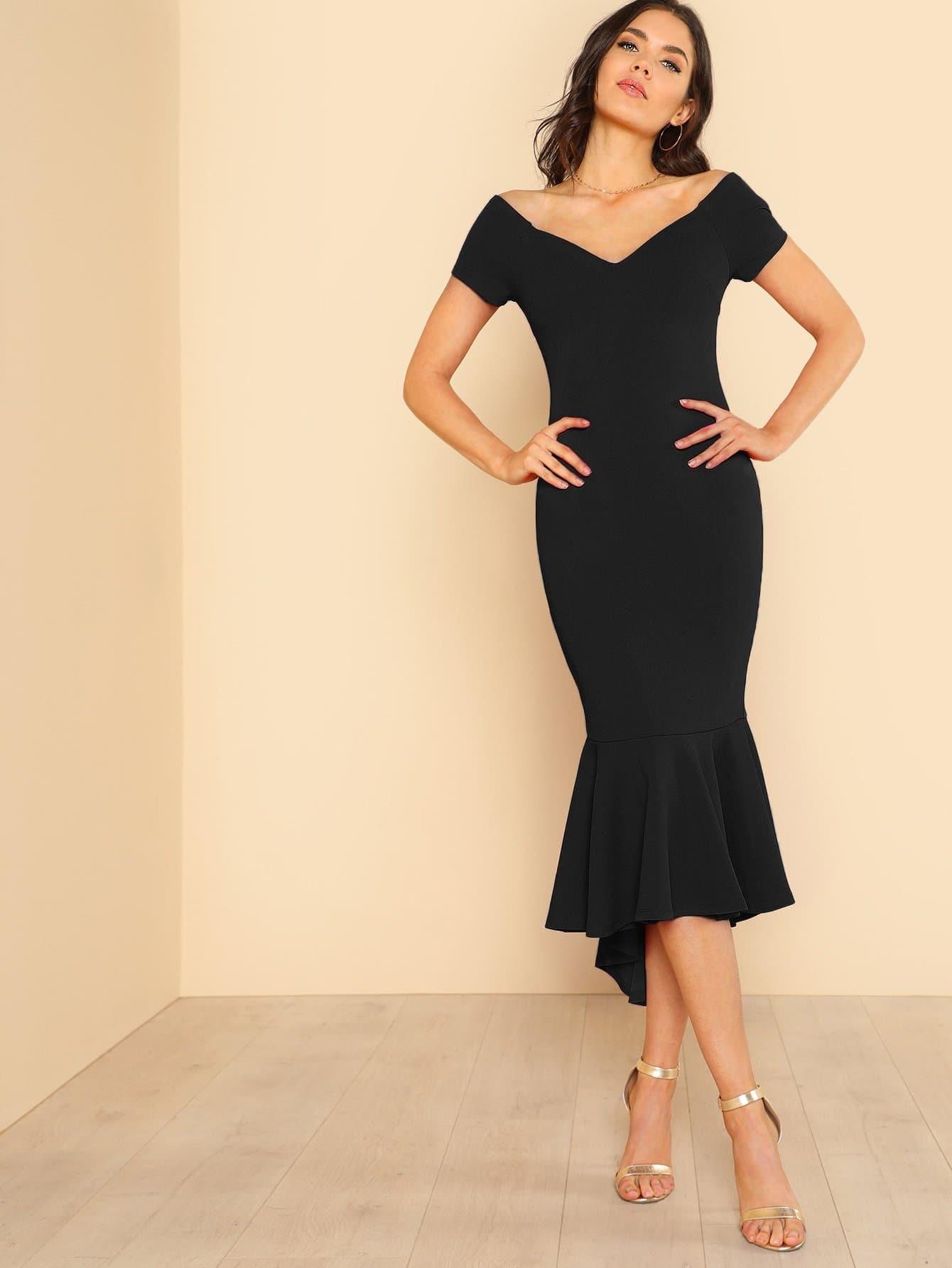 Купить Платье с v-образным вырезом с оборками, Aarika Wolf, SheIn