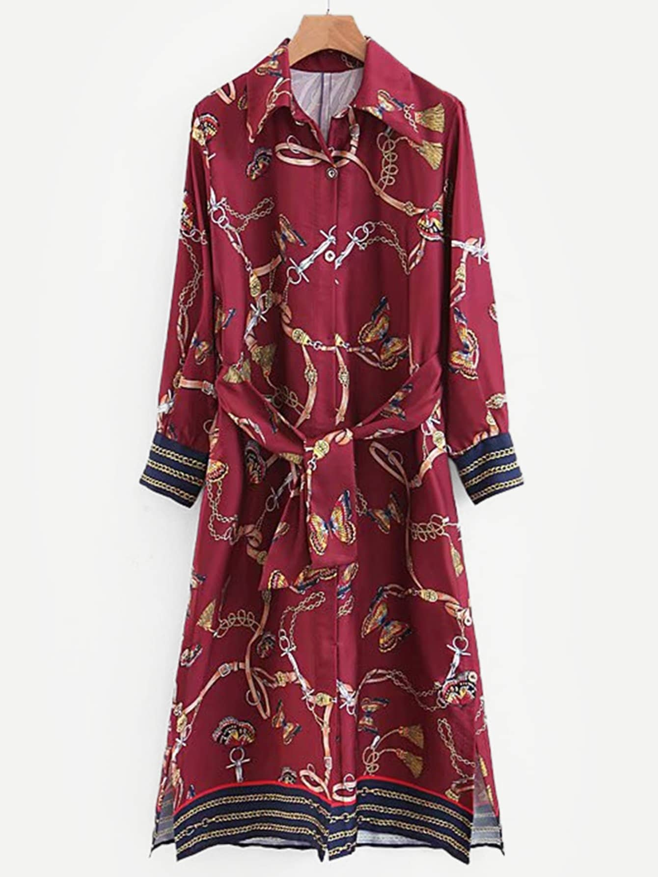 Купить Платье-рубашки с поясом и вырезом, null, SheIn