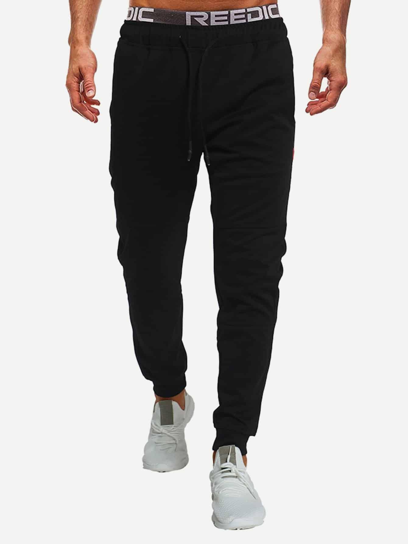 Купить Мужские простые брюки с басоном эластичным, null, SheIn