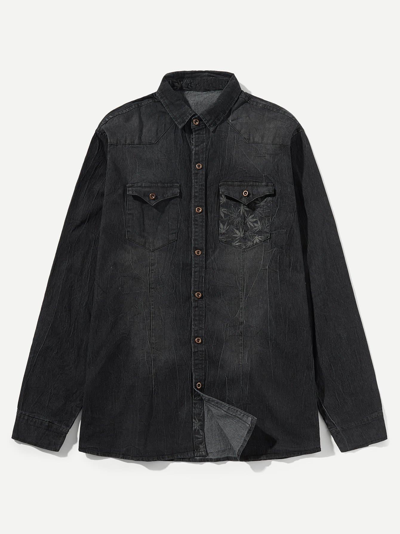 Купить Мужская джинсовая футболка с принтом листьев, null, SheIn