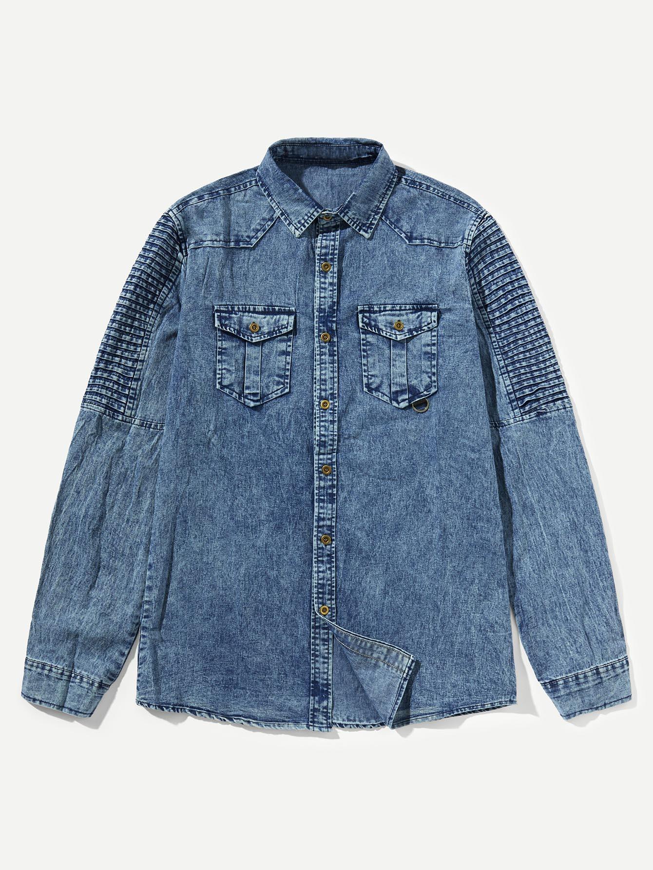 Купить Мужская джинсовая футболка с плиссированными рукавами, null, SheIn