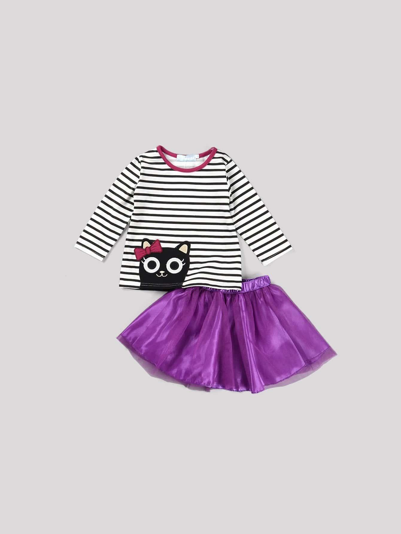 Купить Полосатая футболка с принтом вышитого кота и юбка для девочек, null, SheIn