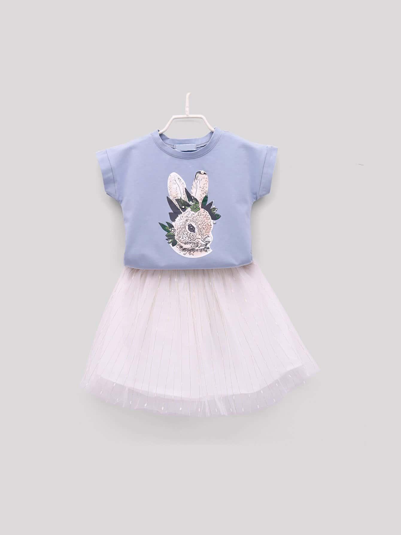 Купить Футболка с принтом кролика и сетчатая юбка для девочек, null, SheIn