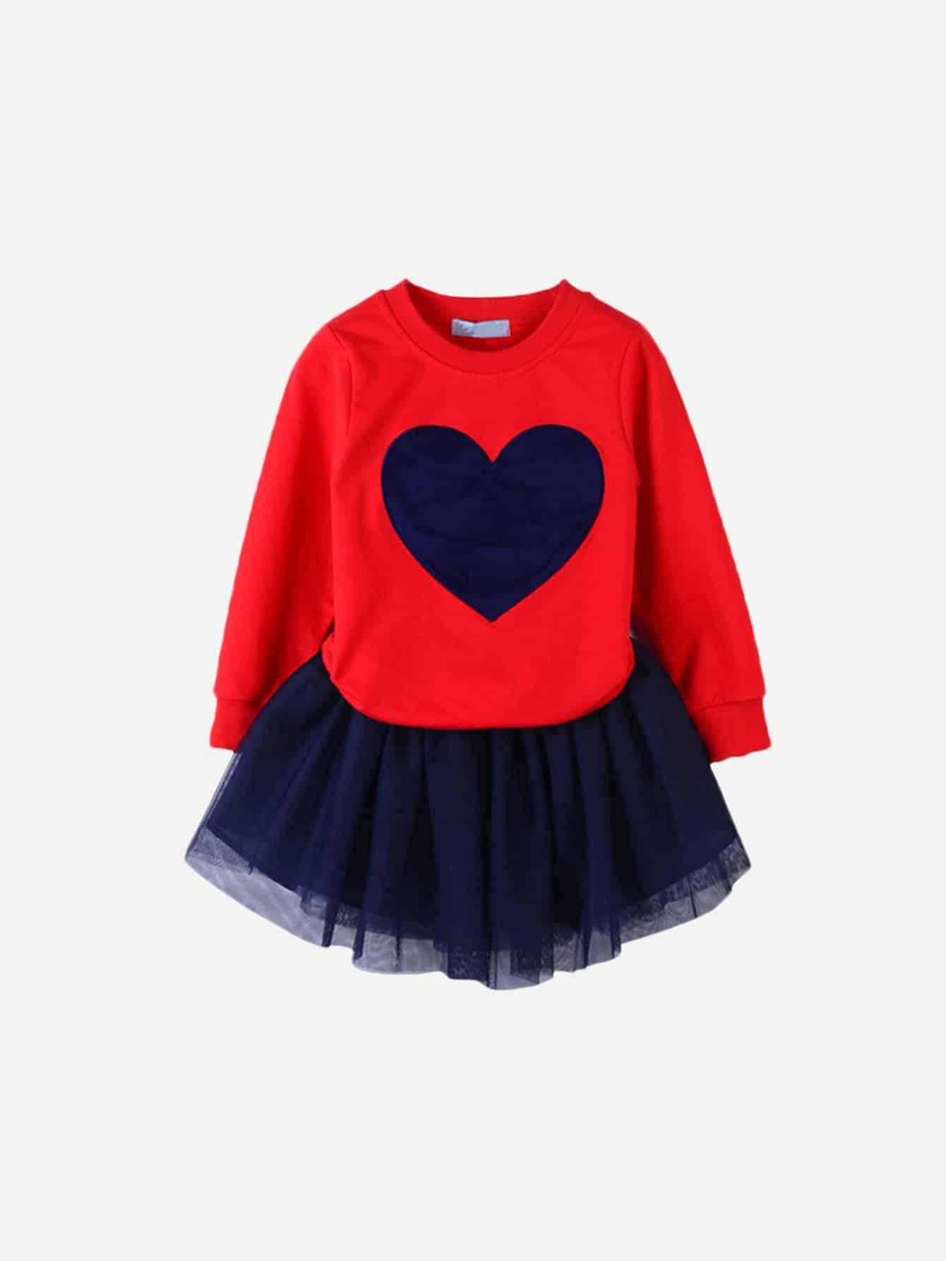 Купить Футболка с принтом сердцей и сетчатая юбка для девочек, null, SheIn