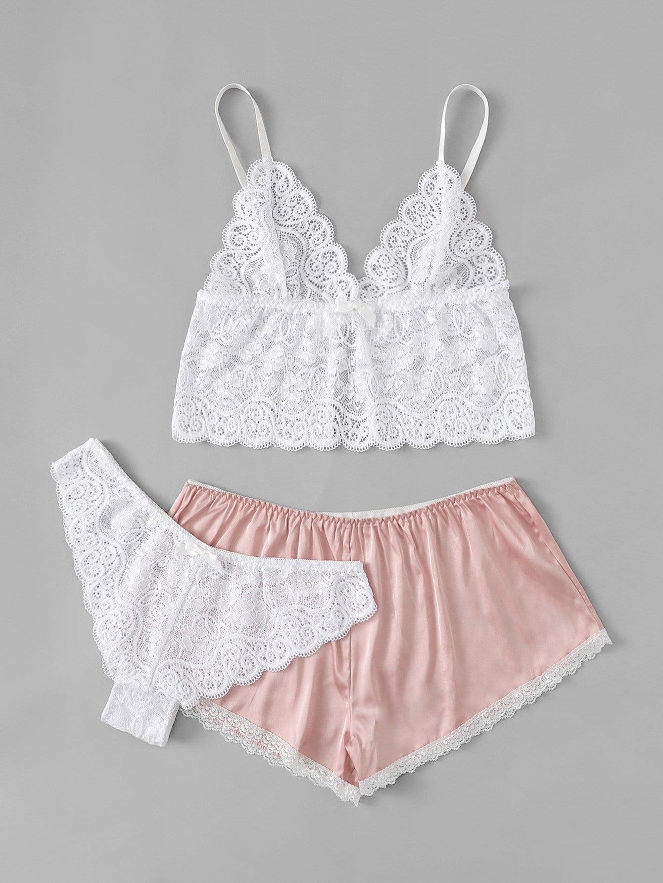 Scalloped Trim Cami Top & Shorts Panty 3pcs