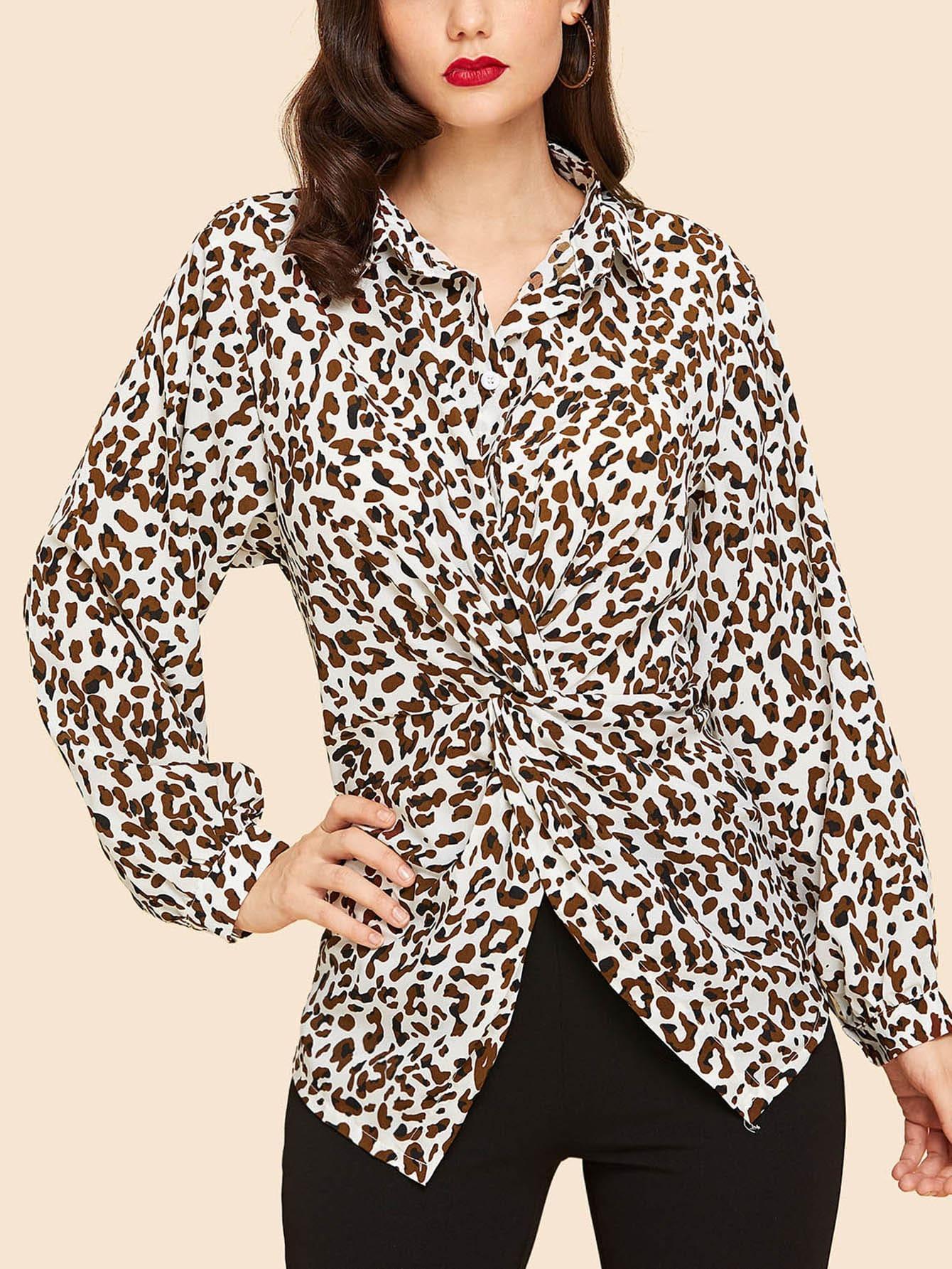 Купить Леопардовая витой спереди блузка, Julie H., SheIn