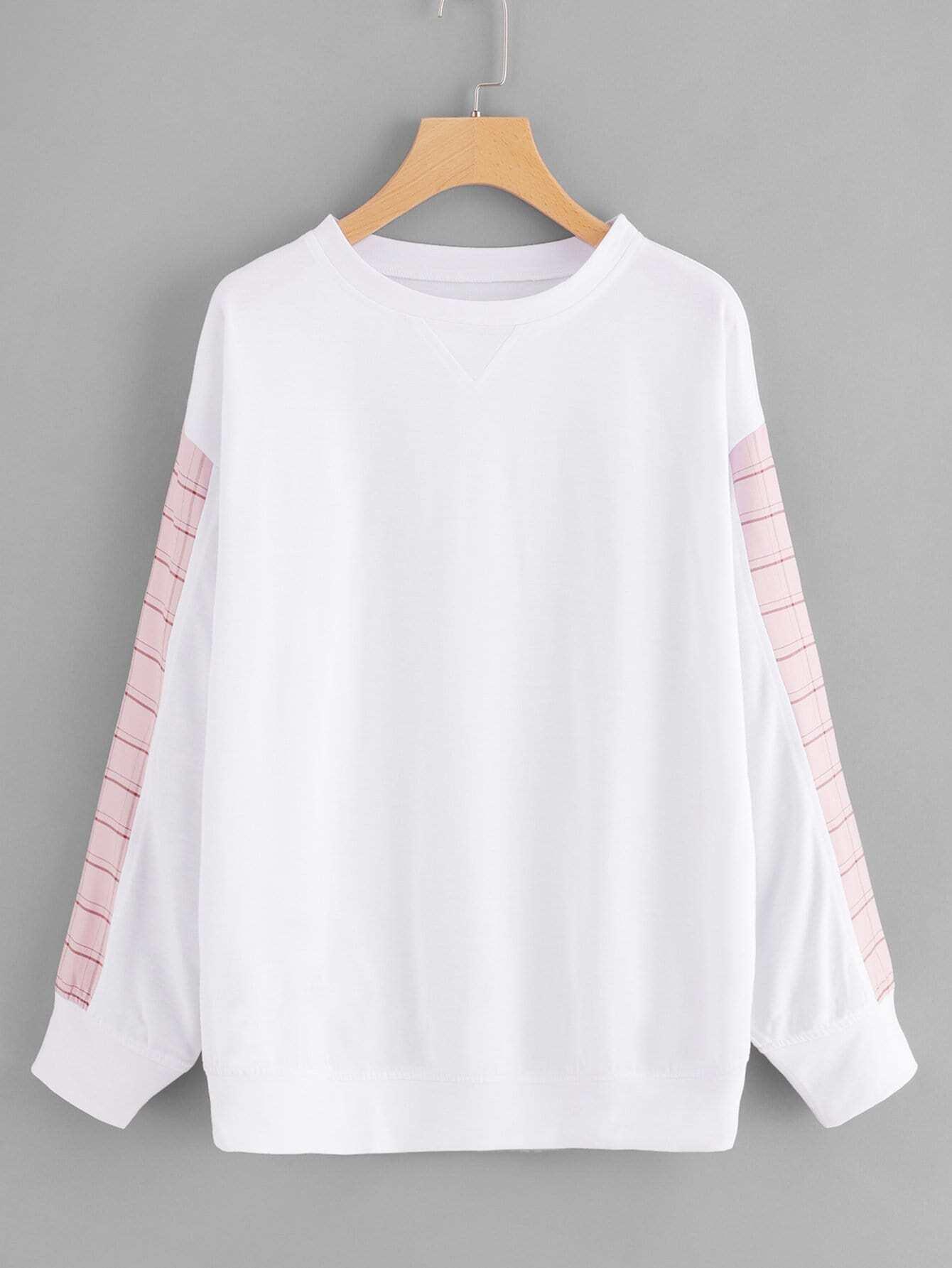 Купить Большой контрастный пуловер в клетку, null, SheIn